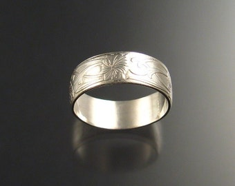 Wide Sterling Pattern Band Ring, any size