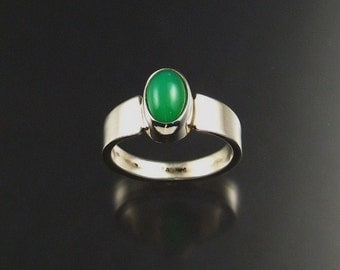 Chrysoprase ring, Sterling, size 8