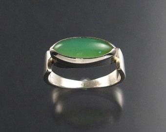 Chrysoprase ring, sterling, size 9