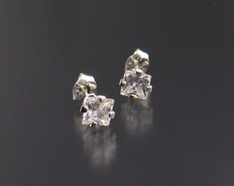 White CZ Square Post Earrings, Sterling