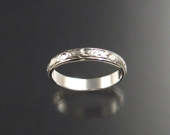 3mm Floral pattern ring Sterling silver Ring Band any size