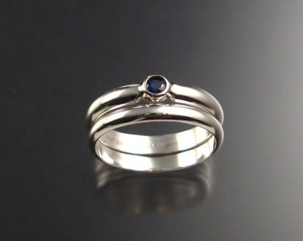 Sapphire Wedding Set, Sterling Silver, any size
