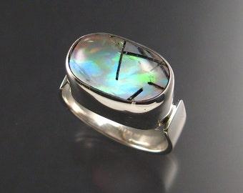 Tourmalated Quartz / lab Opal doublet men's ring, Sterling