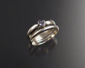 Tanzanite Wedding Set, Sterling Silver, any size