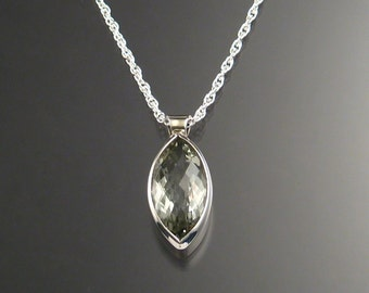 Green Amethyst ( Prasiolite ) Checkerboard cut Marquise shaped Necklace, Sterling