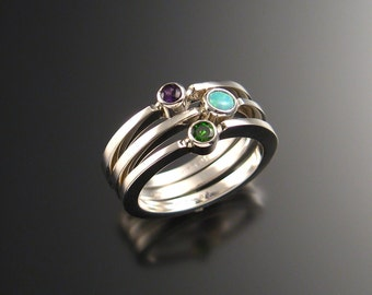Stackable Mothers ring set of Three rings Made to order in your size Sterling Silver Birthstone ring
