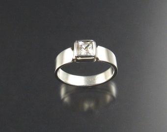 White Zircon ring, Sterling, Size 8