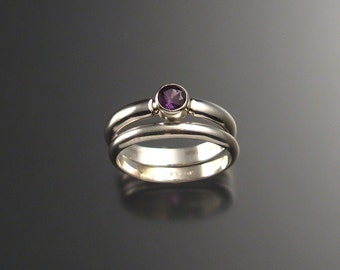 Amethyst wedding set, Sterling silver, any size