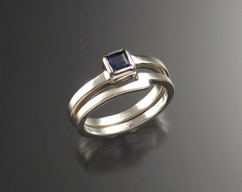 Iolite square wedding set Sterling silver Sapphire substitute natural indigo blue gemstone ring handmade to order in your size