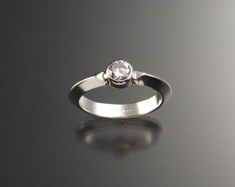 White CZ Grooms ring, bezel-set, Sterling silver, any size