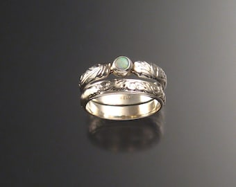 Opal Wedding Set, Sterling Silver Made to order in your size