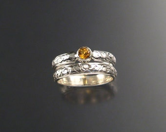 Citrine Wedding Set, Sterling, any size
