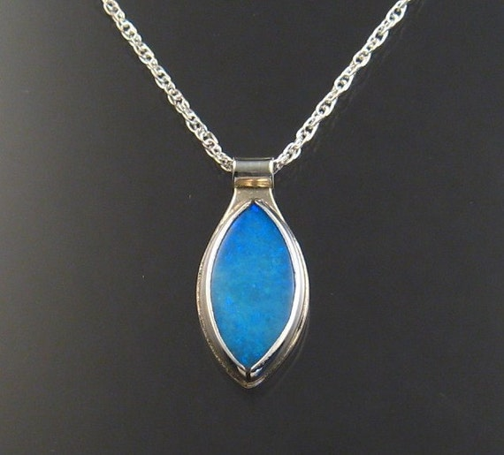 Natural Blue Australian Opal necklace Sterling silver Marquis shaped Pendant