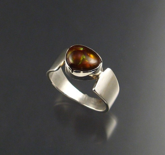 Fire Agate ring, Sterling, size 9 3/4