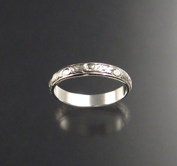 3mm Floral pattern ring. Sterling silver, any size