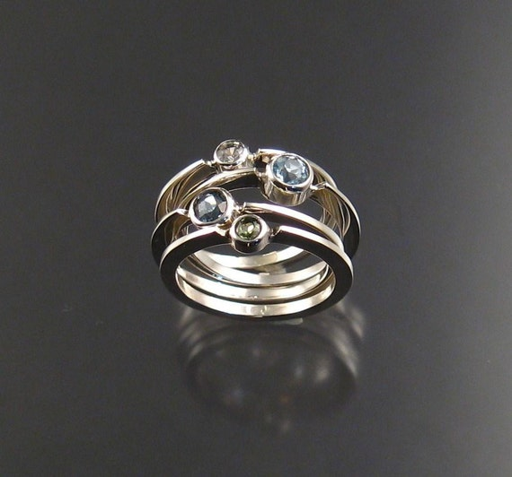 stackable mothers birthstone ring set of four by