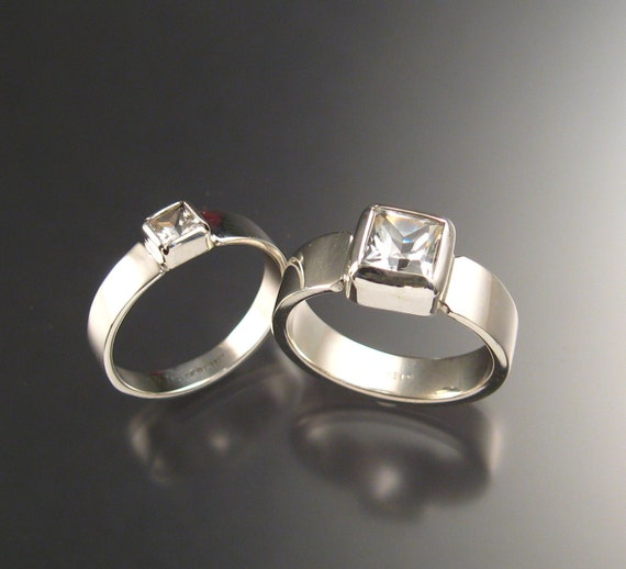 White Topaz and White Zircon His and Hers Wedding Rings, Sterling, Any Size