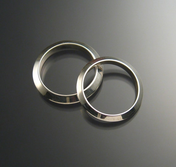 Sterling Silver Triangular Wedding bands, His and Hers, any size