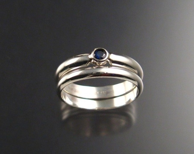 Sapphire Wedding Set Sterling Silver made to order in your size