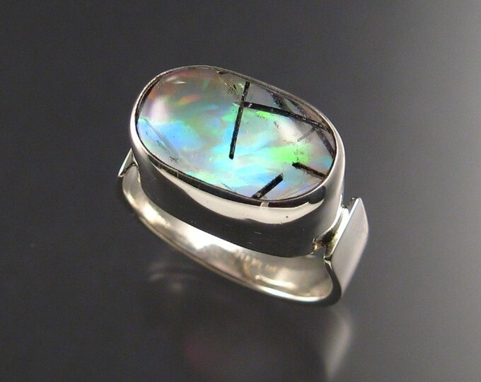 Tourmalated Quartz / lab Opal doublet men's ring, Sterling