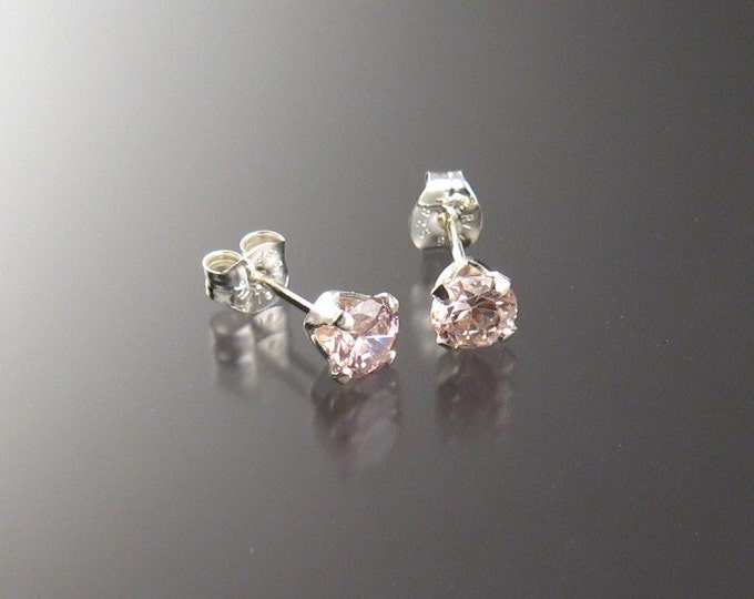 Pink Cubic Zirconia posts 5 mm Round, sterling silver
