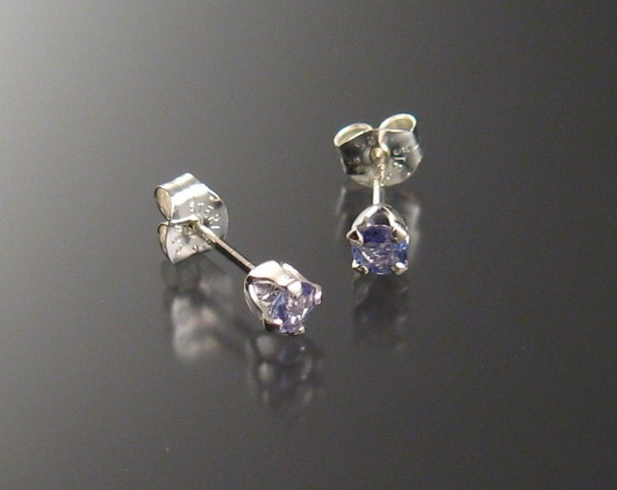 Tanzanite Posts, 3mm Rounds, Sterling