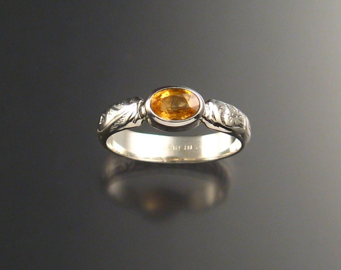 Orange Garnet and Sterling Silver Natural Mandarin Garnet victorian floral pattern ring made to order in your size