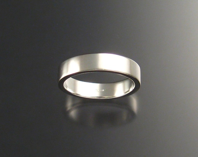Sterling Silver Rectangular Wedding ring comfort fit band bright finish ring made to order in your size