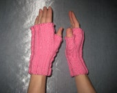 Pink Cotton Fingerless Gloves Mitts Wristwarmers One Size Child Through Adult
