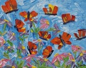 SOLD - Original Oil Painting on Canvas - Abstract impasto palette knife MONARCH BUTTERFLIES by Michelle Cain