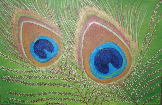 Original Oil Painting and Metallic on Canvas - PEACOCK FEATHERS Fine Art by Michelle Cain - LARGE