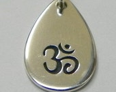 Sterling Silver Teardrop Charm with Ohm Stamp