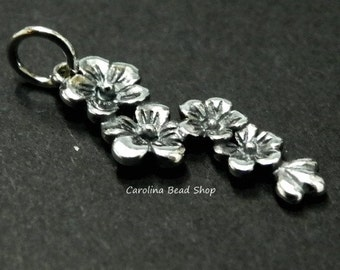 Sterling Silver Cherry Blossom Cluster Charm - C929, Flowers, Woodlands