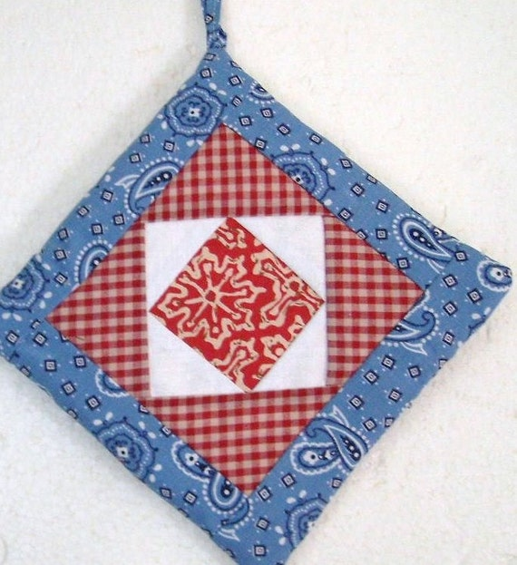 POTHOLDER, Quilt Design, Square in Square Pattern, Abstract. Red Gingham, Blue and White,  Man Gift, Patriotic