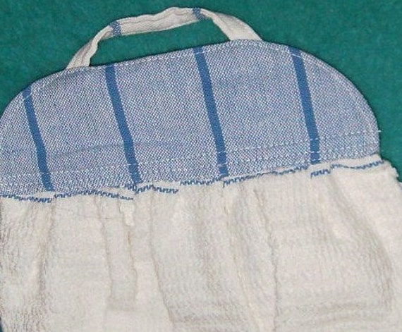 For Pegs and Knobs-HANGING TOWEL Extra Long Blues White Cotton Towel Multipurpose Kitchen Bath Laundry Room Studio