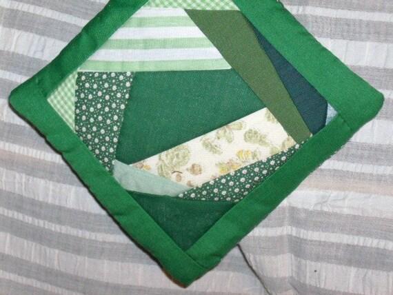 POTHOLDER, Crazy Quilt Design,  Scrappy Greens,  Handmade, Traditional,