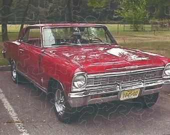 4 x 6 Hand Cut Puzzle of a Chevy Nova  with 56 Pieces