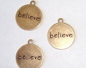BELIEVE Charm Round Antique Gold - 4 Pieces