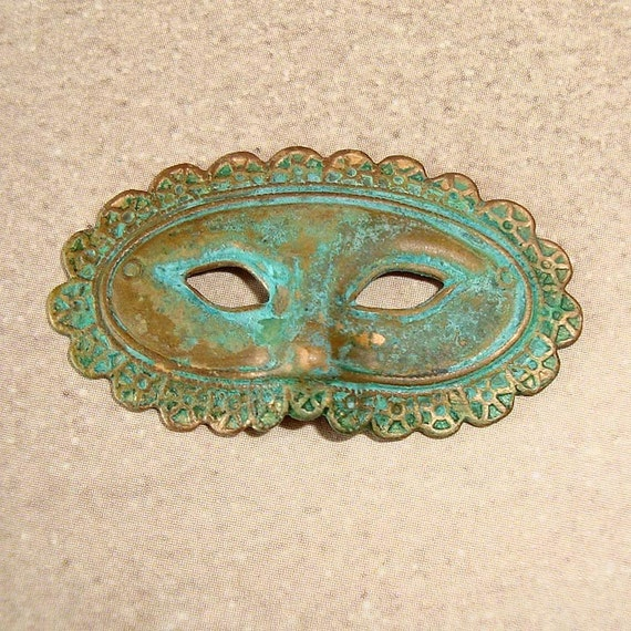 Opera Mask Charms or Pendants Vintage Patina - 1 Piece
