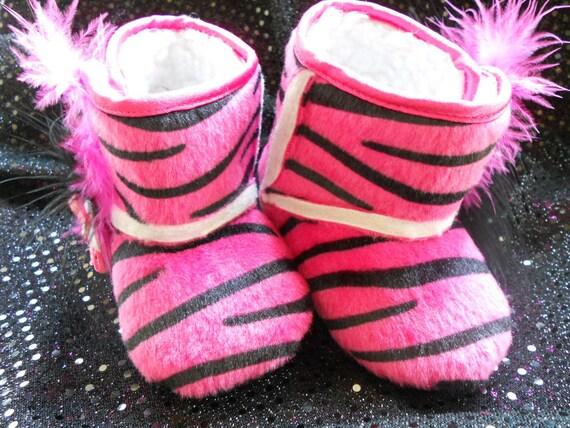 pink zebra print boots by sparklesandbows on etsy