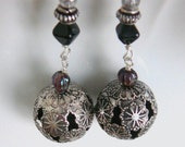 Floral Filigree Bohemian Earrings - dangles, flower child, boho chic, silver