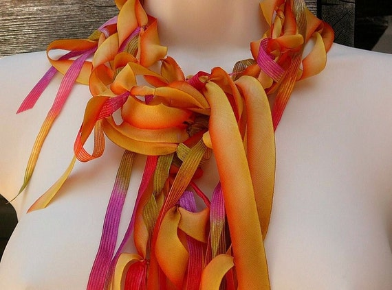 Sunset Boulevard Orange and Golden Yellow Neck Accent - bold, wild, dyed silk, bright, funky, unique