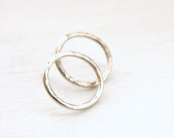Open Circle post hoop earrings / shiny silver hoops / geometrical earrings / round sterling silver Handmade gifts under 50