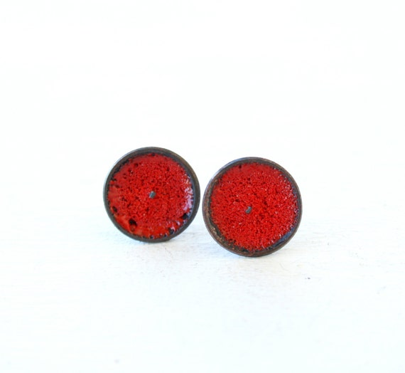 Passion red Copper Enamel stud button earrings Handmade Valentine gift