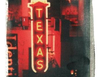 Texas Retro--signed, hand-touched negative image transfer print