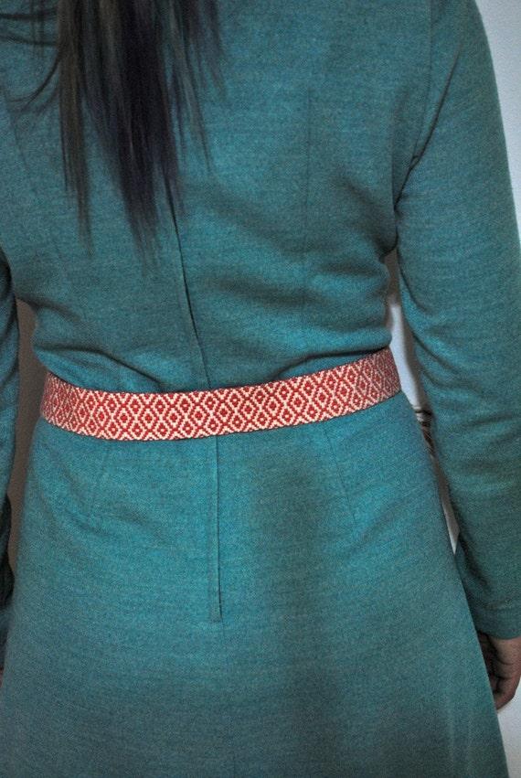 Vintage Woven Peach Belt With Tassels