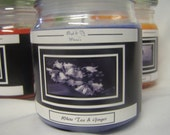 White Tea and Ginger Handcrafted 13 oz Candle - ALL NATURAL SOY WAX from Syd and Mimis