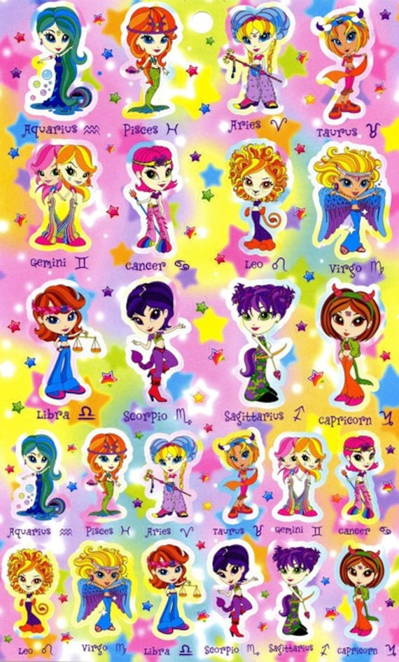 Lisa frank sticker sheet astrological signs zodiac by - Ed hardy lisa frank ...