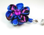flower ID badge holder in  blue and purple