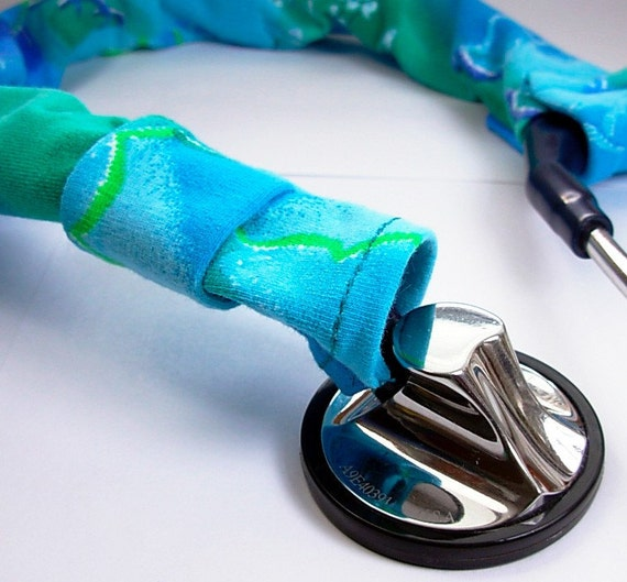 blue green stethoscope cover